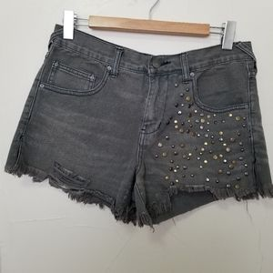 Free people size 27 studded denim shorts